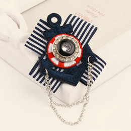 Chinese  Women Girls Navy Stripe Necktie Brooch Rhinestone Anchor Retro Style Badge Suit Lapel Pin with Chain manufacturers