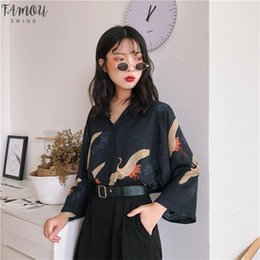 Formal clothes For women online shopping - Blouses Womens Clothes Japan Kawaii Broadcloth Ladies Summer Harajuku Style Vintage Crane Blouse Female Punk Cute Tunic For Women