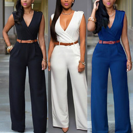 Wholesale jumpsuit formal for sale – dress Business Formal Jumpsuit Work Wear Women Elegant Long Deep V Neck Wrap Jumpsuit Solid Belt Shirt Elastic Waist Wide Leg