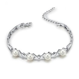 Hot Bar Australia - Sinya 925 Sterling Silver Bracelet For Women With Aaa Freshwater Pearls Best For Lover Christmas Birthday Party Gift 2017 Hot C19021501