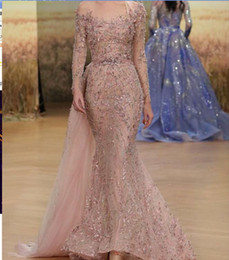 kim kardashian bead dress NZ - Evening dress Ziad naked Yousef aljasmi Pink Appliques Mermaid Long sleeve Purple Crystals f loor length Beads dress kim kardashian zaw