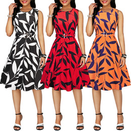 b7d771fcb6a Leaf Print Vintage Dress Audrey Hepburn 60s Retro Dress Round Neck  Sleeveless Belts Summer A-line LJJV426