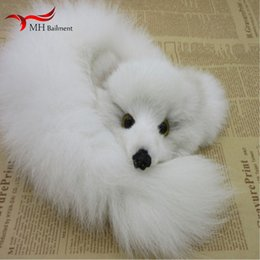 Discount fox fur keychains - Small fox fur jewelry chain bag women shoes ornament 100% real fur fashion key pendant backpack keychains