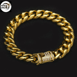 $enCountryForm.capitalKeyWord NZ - New Fashion Stainless Steel Gold Plated Hip Hop Mens Cuban Link Chain Bracelet 14mm Diamond Buckle Rapper Jewelry Gifts for Boys Wholesale