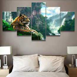 waterfalls paintings hd NZ - Living Room HD Printed Poster Modern Wall Art Painting 5 Panel Tiger And Mountain Waterfall Home Decoration Pictures Framework