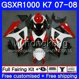 Gsxr fairinG red white online shopping - Bodywork For SUZUKI GSX R1000 GSXR GSXR HM GSX R1000 Red white stock Body K7 GSXR1000 Fairing Gifts