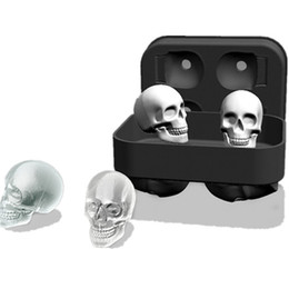 Silicone Shaped Ice Cube Trays NZ - Creative 4 Cavity Skull Shape 3d Cube Mold Cool Bar Party Wine Silicone Trays Maker Skeleton Form Ice Cram Mould Diy Tools C19041301