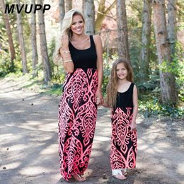 Mother Baby Daughter Dress NZ - Mvupp Mother Daughter Dress Family Matching Outfits Neon Coral Black Damask Maxi Dress Baby Girl Summer Mommy And Me Clothes Y19051103