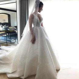 Discount graceful modern wedding dresses - Graceful Full Pearls Ball Gown Wedding Dresses V Neck Ruffles Satin Chapel Wedding Gown Sweep Train Backless Church Brid
