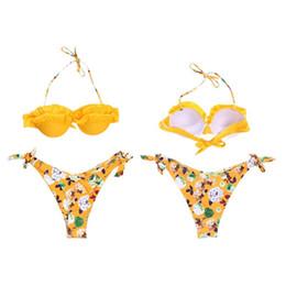 f5cfb47df5 Women Sexy Two-Piece Bikini Set Halter Neck Tiered Ruffles Padded Bra  Swimsuit Low Waist Tie Knot Side Bohemian Floral Printed B