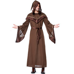 full tv NZ - Mens Halloween Wizard Costumes Religious Godfather Cosplay Hooded Costume Accessories Halloween Male Popular Cosplay Full Length Clothing
