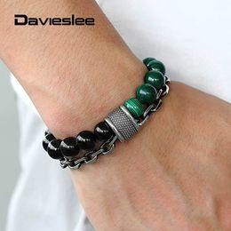 $enCountryForm.capitalKeyWord Australia - Double Layers Bracelet for Men Natural Grade A Malachite Stone Black Onyx Beads Stainless Steel Bracelet Rolo Chain LTBX00903