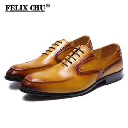 Discount modern casual wedding dress - FELIX CHU Modern Gentlemen Yellow Color Genuine Leather Plain Toe Oxfords Party Wedding Casual Footwear Men Dress Shoes