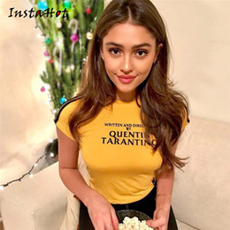 $enCountryForm.capitalKeyWord NZ - Instahot Quentin Tarantino Printed Tops Women Short T-shirts Side Stripe Tops Cotton Knitted Tees 2018 Summer Yellow Brand Tops Y190123