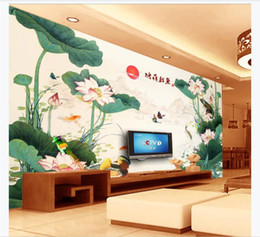 Wholesale customize ink for sale - Group buy Customized D photo mural wall paper Chinese ink lotus HD living room TV background wall decoration Wallpaper for walls d