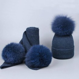 Winter Baby Fleece Suit Australia - 10 colors children cashmere fleece 16cm real fur ball cap pom poms baby kids winter hat Scarf Set knitted beanies hats Thick scarves suit