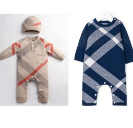 b70bbfece Baby boys plaid romper infant girls round collar long sleeve knitted sweater  jumpsuits+hat 2pcs sets newborn kids clothes F6601
