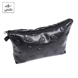 skull cosmetic bags NZ - Black Skull 3d Printing Leather Makeup Bag Women Fashion Travel Organizer Pu Cosmetic Bag Trousse De Maquillage Pencil Case
