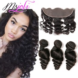 Wholesale ONLINE SHOPPING Bundles with Closure Frontal X4 Lace Closure Loose Wave Unprocessed Virgin Brazilian Mink Hair
