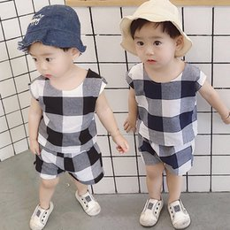 $enCountryForm.capitalKeyWord Australia - Fashion Baby Boys Clothes Set 2019 Summer Children Clothing 2pcs Cotton Plaid Vest Tops Shorts Kids Outfits Sports Suit For Boys J190715