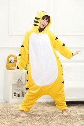 Sleepwear Costumes Australia - Yellow Tiger Onesies Kigurum Pyjamas Animal Pajamas Sleepwear Cartoon Cosplay Costume Sleepsuit for Adults Children