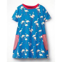 down fur lined 2019 - INS Must-have Pocket Striped Princess Girls Dress Short Sleeve Blue Pink Floral Swan A-line Ruffles Baby Girls Summer Gi