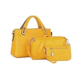 b6a34e5a9147 Wholesale-Famous Brands Handbags Nice Luxury Elegant Female Big Bags  Crocodile Women s PU Leather Handbag 2 Pcs Set Women Messenger Bag