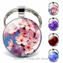 $enCountryForm.capitalKeyWord Canada - Flower Accessories Keychain Cherry Blossom Sakura Rose Jewelry Key Holder Key Rings Glass Cabochon Pendant Keychains for Women