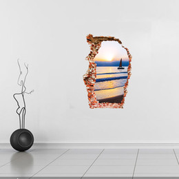 $enCountryForm.capitalKeyWord Australia - Breaken Wall 3D Wall Stickers Sea boat sunset Scenery Home Decoration living room background art Broken Hole The Door Sticker