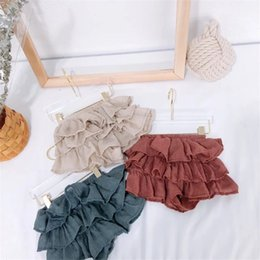 Korean Baby Flowers Australia - INS Stylish New Baby ruffle bloomers Korean Infant Toddle Summer Cotton Cake Skirts Short Pant Kids Fashion Casual Bloomer boutique cloth