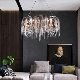 $enCountryForm.capitalKeyWord Australia - 2019 new Modern Hanging silver gold aluminum chain chandelier LED Lustre Living Room Chandeliers light Fixture AC110-220V