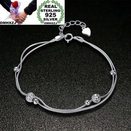 $enCountryForm.capitalKeyWord Australia - OMHXZJ Wholesale Personality Fashion Woman Girl Party Wedding Gift Silver Beads Two Lines 925 Sterling Silver Bracelet BR14