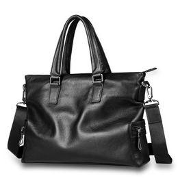 "Cowskin Handbags Australia - New Arrival Real Cowskin Men's Briefcase Large Capacity Business Bag Male Genuine Leather Handbag Computer Bags for 14"" Laptop"