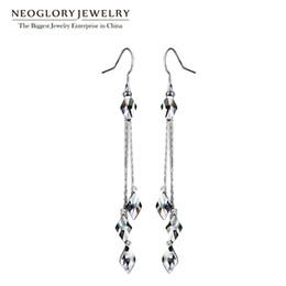 Vintage Copper Earrings Dangle Australia - earrings for Neoglory Blue Crystal Long Tassel Wedding Dangle Drop Earrings For Women Vintage Gifts Fashion Jewelry 2018 New