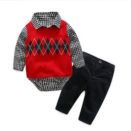 Infant Baby Pant Pattern Australia - Newborn Baby Boy Party Romper Clothes Set Fashion Gentleman Knit Pattern Jumpsuit Infant Clothing Suit Vest + Rompers + Pants