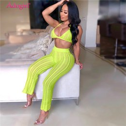 Wholesale beach outfits women resale online – Adogirl Summer Fishnet Knitted Two Piece Set Women Sexy See Through Night Club Suits Bra Top Pants Casual Beach Outfits Y190921