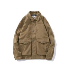 0eafba26a Botão cáqui on-line-Khaki Brown Button Down Men Cargo Jacket Double Pocket  Turn