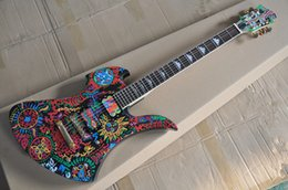 Golden Body Painting Australia - New Arrival! Painted pattern Unusual Shape Electric Guitar with Golden Hardwares,Rosewood Fretboard, offer customized