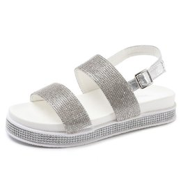 China Summer Bling Bling Women Sandals 2019 New Slip On Flats Beach Gladiator Sandals Casual Platform Shoes Woman XWZ5020 cheap white bling sandals suppliers
