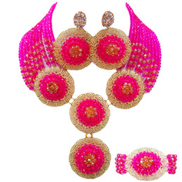$enCountryForm.capitalKeyWord Australia - Fuchsia Pink and Champagne Gold AB African Necklace Jewelry Set Crystal Beaded Nigerian Beads Wedding Party Jewelry Sets 10PH03