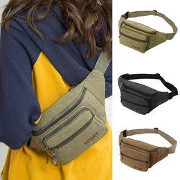 Solid Pack Australia - Canvas Unisex Solid waist bag Casual Sports Pockets crossbody Shoulder Bag Waist Packs female sports travel pack walking sac