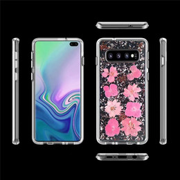 $enCountryForm.capitalKeyWord Australia - Bling Glitter Gold Foil Shell Real Dried Petals Flower Crystal Case Cover For Iphone XR XS Max X 8 7 6S Plus Samsung Galaxy S10E S10 S9 Plus