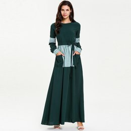Pocket Size Australia - Women long sleeve o neck dresses muslim abaya middle east high waist striped printed casual party loose maxi plus size 4xl dress with pocket