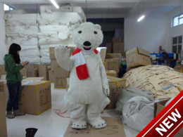 professional polar bear costume UK - Professional custom red scarf Polar Bear Mascot Costume cartoon white bear character Clothes Halloween festival Party Fancy Dress