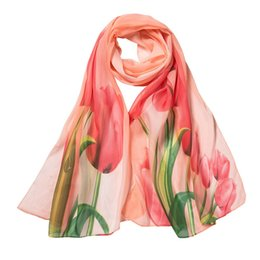 1509996ab 2018 Autumn Women Scarf Flower Printing Long Soft Wrap Scarf Chiffon Ladies Shawl  Scarves