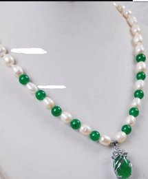 pearl green NZ - necklace Free shipping ++++ Fast White Akoya Cultured Pearl Green Jade pendant(13x18mm) necklace