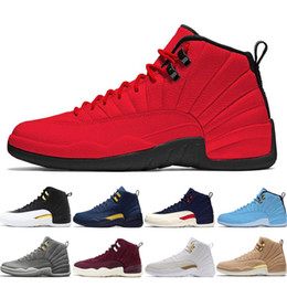 official photos 82e86 86328 2019 New Jumpman XII Red Vachetta Tan Retros Blue Michigan 12 Basketball  Shoes Mens Trainers 12s Suede Sport Sneakers 7-13