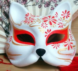 $enCountryForm.capitalKeyWord Australia - Hand- painted Fox Mask Endulge Japanese Animal Mask Half Face Halloween Masquerade Cosplay Party Masks Free Shipping