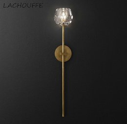 gold wall lamps bedroom UK - Post Modern Gold Led Wall Lamp Sconce Nordic Crystal Wall Light Fixtures for Bedroom Corridor Aisle Hotel Simple Decor Luminaire