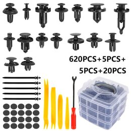cable install UK - 620 Pcs Clips Trim Car Install Push Rivet Bumper Door Panel Retainer Fastener With Cable Ties Gaskets Removal Tools Set